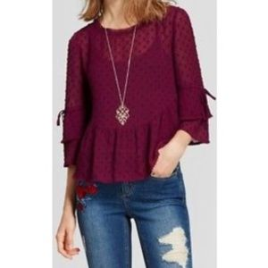 NWT | Swiss Dot Double Ruffle Blouse in Berry